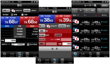 スマートフォン用取引アプリケーションの画面の例(iPhone版)
